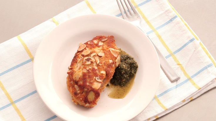 Go ahead, mix your sweet with your savory in this goat-cheese-and apricot stuffed chicken that is topped with a mint pesto. This crispy, crunch delight will definitely be a change of pace from your usual chicken dinners. Before following the recipe tutorial, make sure you have all of the right ingredients: 3 oz goat cheese 3/4 cup sliced almonds 3 diced dried apricots 4 skinless, boneless chicken breasts 1 egg 1/3 cup dried breadcrumbs salt pepper 3 cups fresh mint 1/2 cup olive oil Once you gather up all your ingredients, follow the easy directions in the video and enjoy!